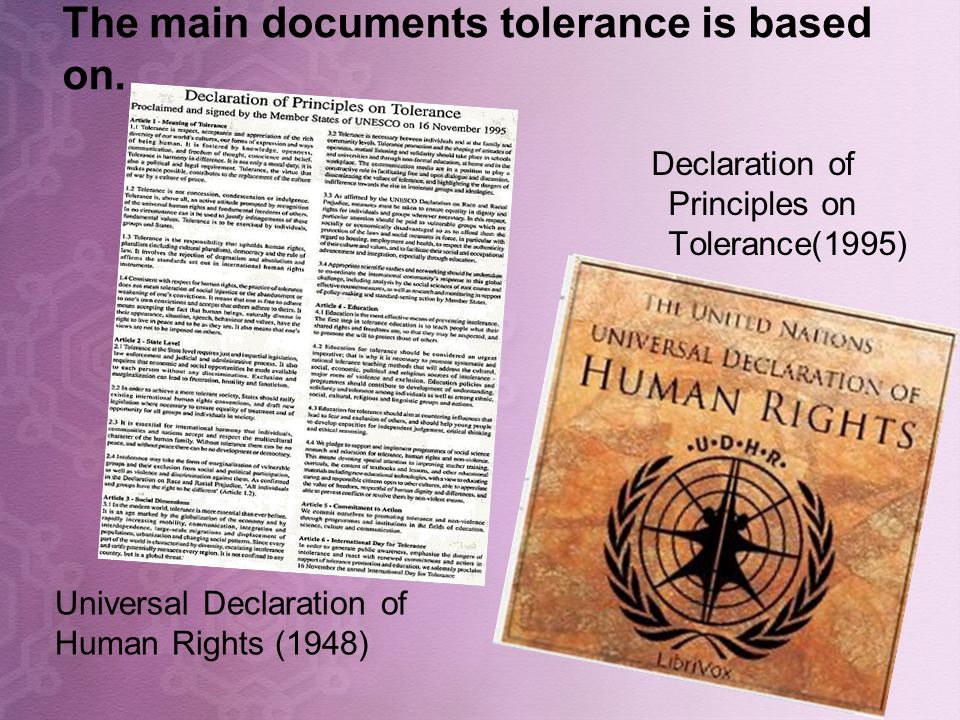 The main documents tolerance is based on.